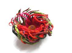 Felt flower brooch Burgundy Pink  Wool Felt Jewelry/ door Marywool, $22.00