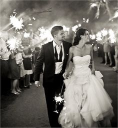 Sparklers as the Grand Exit -- I love this idea!