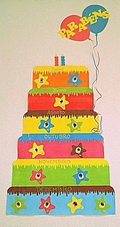 Aniversários Decoration Creche, Class Decoration, Birthday Bulletin Boards, Birthday Board, Classroom Displays, Classroom Decor, Toddler Preschool, Preschool Crafts, Fall Crafts