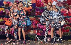 Bloom town! W Magazine styled by Giovanna Battaglia. Peter Som outfit (far left).
