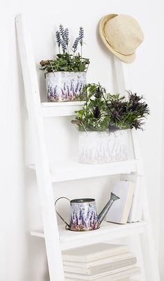 Holzleiter, Blumentöpfe und Gießkanne im Shabby Chic. Lavendel dazu - fertig ist der Look der Provence. #awgmode #provence #lavendel #holzleiter #shabbychic #gießkanne #deko #einrichtung Ladder Bookcase, Ladder Decor, Shabby, Shelves, Home Decor, Wood Ladder, France, Home, Shelving