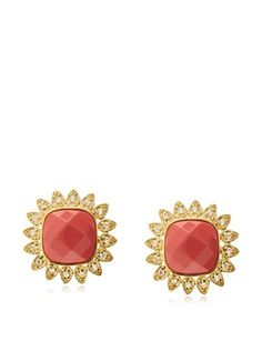 62% OFF CZ by Kenneth Jay Lane Pave Coral Stud Earrings