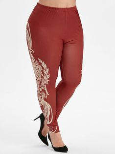 Pull On Printed Side High Waisted Plus Size Leggings