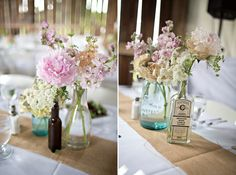 I love the idea of using old bottles as vases for the centerpieces.
