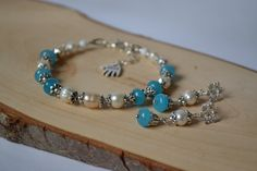 Jewellery set bracelet of pearls River Pearl  Jewelry from natural stones Jewelry with aquamarine Jewelry with freshwater pearls by Ukrashulki on Etsy