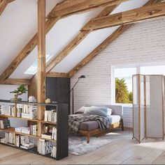 Stehregal als Raumteiler im Dachboden hall diy decor Attic Bedroom Designs, Attic Bedrooms, Attic Design, Loft Design, Bedroom Loft, Design Case, House Design, Design Interior, Design Design