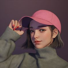 ArtStation - girl in a cap, Juhye Jeong Digital Art Girl, Digital Portrait, Cute Cartoon Girl, Cartoon Art, Novel Characters, Cap Girl, Girly Drawings, Cute Anime Wallpaper, Cute Art Styles