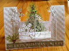 - Merry Christmas Anita by susie australia - Cards and Paper Crafts at Splitcoaststampers, Christmas cardCard by Susie/susie australia using (dies) My Favorite Things Die-names Let It Snowflake; Spellbinders Die D-Lites Gilded Gate; (e/f) Cuttlebug 5 Christmas Cards To Make, Xmas Cards, Handmade Christmas, Holiday Cards, Merry Christmas, Diy Christmas, 3d Cards, Pop Up Cards, Side Step Card