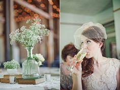 Tischdeko für Hochzeit in einer Scheune -> Schleierkraut!!