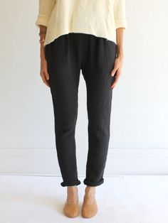 black crane quilted pant at mille