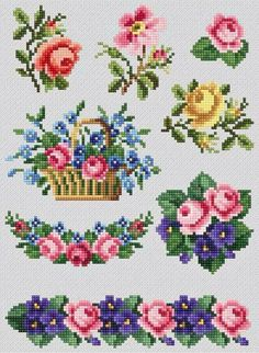 Most recent Free Cross Stitch flowers Thoughts Cross Stitch Borders, Cross Stitch Rose, Cross Stitch Flowers, Counted Cross Stitch Patterns, Cross Stitch Charts, Cross Stitch Designs, Cross Stitching, Hand Embroidery Stitches, Cross Stitch Embroidery