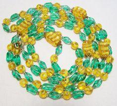 Mid Century Green and Yellow Art Glass Bead 49 by GretelsTreasures