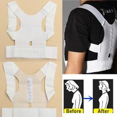 Description :  	Magnet Therapy Posture Shoulder Corrector Adjustable Back Support Brace Belt  	Do you still feel uncomfortable when sit a long time? Do you worry improper posture may be bad to your health? This theraphy posture shoulder can help you. 	It is a magnet therapy...