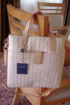 ARCADIA CHAMPAGNE BEIGE PATENT LEATHER TOTE / CROSS BODY STYLE #1038 NWT ~ ITALY