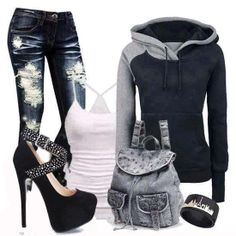 Love this look. hoodies & skinny jeans & heels = perfection