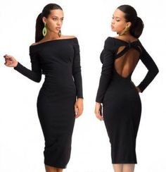 Sexy Black Dress <3 Fashion Brand, Peplum Dress, Backless, Cold Shoulder Dress, Jumpsuit, Sexy, Black, Dresses, Shoulder Dress