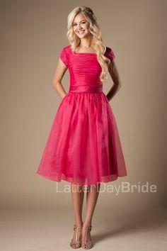 Latter Day Bride modest prom dress. pink, knee-length