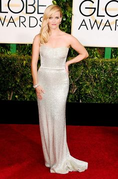 Reese Witherspoon wearing a custom metallic Calvin Klein strapless gown at the 72nd Annual Golden Globes