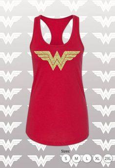 ab8eb59445107 Wonder Woman Shirt Running Tank Top   Wonder Woman Marathon with Gold  Shimmer WW Logo   Costume   Women s Tank   Wonder Women Tank