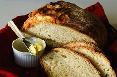 no-knead bread. so easy--like, you can make 4 loaves in ten minutes. I know, it just happened.