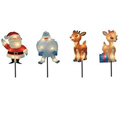 The Northlight Set of 4 Pre-Lit Rudolph the Red-Nosed Reindeer Pathway Markers - Clear Lights welcomes in the Christmas season by featuring characters. Large Outdoor Christmas Decorations, Light Decorations, Christmas Lights, Holiday Decor, Reindeer Christmas, Christmas Ideas, Outdoor Decorations, Christmas Countdown, White Christmas