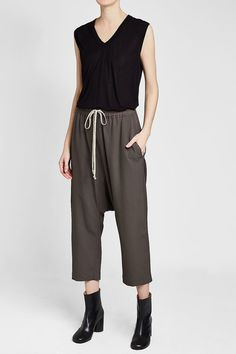 Rick Owens Cropped Harem Pants with Wool Grey Fashion, Rick Owens, Harem Pants, Active Wear, Grey Style, Wool, Silk, How To Wear, Shopping