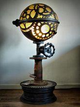 Steampunk Art floor lamp for sale: Decorative piece of art with gear design.