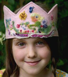 Waldorf Birthday Crown - organic - plant dyed wool felt - Fairy Princess. $26.25, via Etsy.