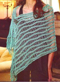 tejidos artesanales: chal largo con lineas onduladas
