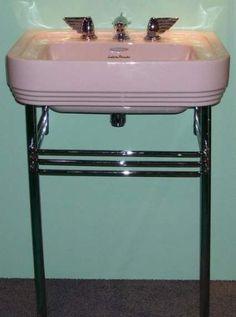 Vintage Art Deco pink bathroom sink and winged faucets 1950s Bathroom, Art Deco Bathroom, Vintage Bathrooms, Bathroom Ideas, Pink Bathrooms, Bathroom Mirrors, Bathroom Inspiration, Art Nouveau, Muebles Art Deco