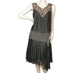 1920's Beaded Flapper Dress Mixed Lace Size Large found on Polyvore featuring polyvore, women's fashion, clothing, dresses, 20s dresses, beaded lace cocktail dress, 1920s gatsby dress, lace dress and art deco dress