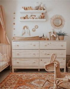 neutral nursery A mix of mid-century modern bohemian and industrial interior style. Home and apartment decor decoration ideas home design bedro Baby Room Decor, Nursery Room, Kids Bedroom, Boho Nursery, Ikea Baby Nursery, Kids Rooms, Nursery Dresser, Kid Decor, Boy Rooms