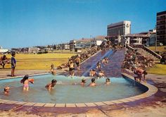 one of the public swimmimg pools at King Beach many many years ago - this area is now grassed and used for a flea market on weekends Port Elizabeth South Africa, King Beach, Cape Colony, Gold Coast Queensland, Beach Pool, Daily Photo, Live, Old Photos, Dolores Park