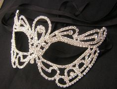 Clear rhinestone Silver finished Venetian Masquerade Mardi Gras mask Party 68181 #Unbranded