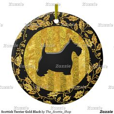 Scottish Terrier Gold Black Ceramic Ornament