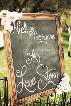 Signs That Shine - A golden frame and paper flowers transform a chalkboard into wow-worthy décor.
