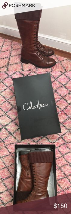 Cole Haan Air Whitley Knit tall brown boots 8.5 Worn and well-loved pair of knee-high Air Whitley boots by Cole Haan. They are a lovely brown color — official color name is dark amber/chestnut knit. There are small marks and imperfections in the leather but nothing that detracts from the overall beauty of the boots. Please review the photos. Heels have been replaced once by a professional cobbler. Laces are non-functional. They have been regularly cleaned and polished and have been stored in…