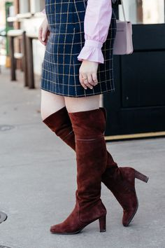 How to wear over the knee boots to work, suede boots to the office via Glitter & Spice