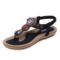 b12f37956e6889 Meeshine Womens Flat Sandals Summer Rhinestone Bohemian Flip Flop Shoes   flatsandals  flatsandalssummer  flatsandalssummerflipflops