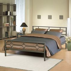 <li>Tyrol bed is designed for use without a box spring</li> <li>Bedroom furniture has a metal grill platform that is lighter and stronger than wooden slats</li> <li>Full-size bed frame is finished in satin champagne color </li>