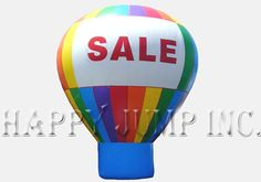 """Our advertising balloons are powered by a continuously operating electric fan.  The fan mounts at the bottom of the balloon and can be powered by 110V or 220V electricity.  They fold up and can be transported in the storage bag in the trunk of your car.  The enormous size of these advertising balloons make them real big attention getters""""""""""""Each Hot Air Balloon includes: -\tHot air shaped advertising balloon made from the finest materials -\tSewn together with industrial ..."""
