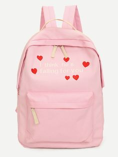 2ad3b8eb26 Shop Pink Embroidery Canvas Backpack With Clutch online. SheIn offers Pink…  Canvas Backpack