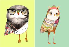 Ashley Percival on Etsy. These are adorable, but someone tell the art world it's time to start making hipster bee prints instead. Owls, they've been done.