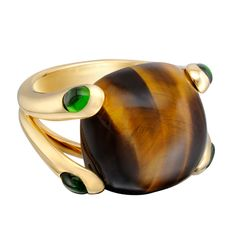 VERUDRA Candy Tigers Eye Ring with Chrome Tourmaline