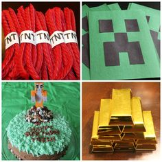 How to throw a Minecraft Party under $20 Minecraft Birthday Party, 7th Birthday, Birthday Parties, Birthday Ideas, Birthday Cake, Birthday Traditions, Epic Party, Birthdays, Cheap Favors