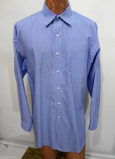 Brooks Brothers Blue White Striped Long Sleeve Cotton Shirt 16 1/2 - 34 Slim Fit #BrooksBrothers