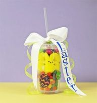 Use a plastic tumbler to create an Easter Basket. cute for care packages next year, since i just sent the easter pack off today #Recipes