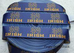 "5 Yards 7//8/"" Notre Dame Fighting Irish Grosgrain Ribbon Crafts Bows Scrapbooking"
