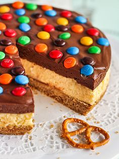 Chocolate Mousse Cheesecake with M&Ms and Salted Pretzel Crust