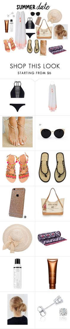 """A la plage"" by vanessa-balkis ❤ liked on Polyvore featuring Zimmermann, Heidi Klein, Forever Soles, Una-Home, Elina Linardaki, H&M, River Island, Tory Burch, St. Tropez and Clarins"